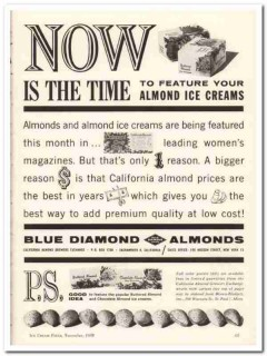 California Almond Growers Exchange 1959 Vintage Ad Ice Cream Time Now