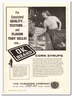 Hubinger Company 1959 Vintage Ad Ice Cream Corn Syrups Flavor OK Brand