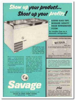 C V Hill Company 1959 Vintage Ad Ice Cream Cabinet Savage Show Product