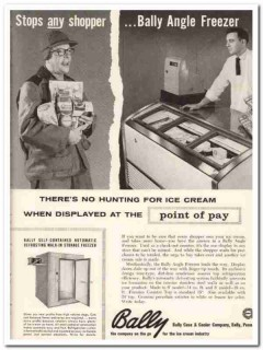 Bally Case Cooler Company 1959 Vintage Ad Ice Cream Angle Freezer Man