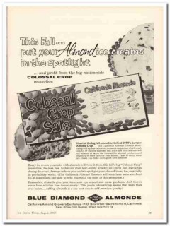 California Almond Growers Exchange 1959 Vintage Ad Ice Cream Colossal