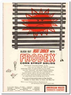American Maize Products Company 1959 Vintage Ad Ice Cream Frodex Heat
