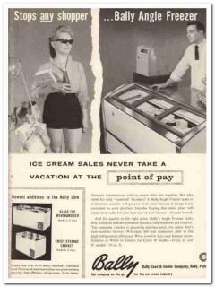 Bally Case Cooler Company 1959 Vintage Ad Ice Cream Angle Freezer Lady