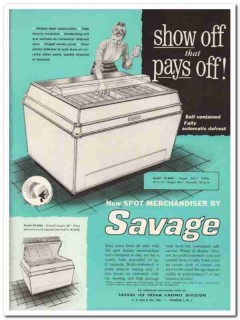C V Hill Company 1959 Vintage Ad Ice Cream Cabinet Savage Show Off