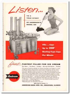 Anderson Bros Mfg Company 1959 Vintage Ad Ice Cream Filler Model 331