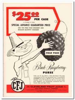 Cleveland Fruit Juice Company 1959 Vintage Ad Ice Cream Raspberry CFJ