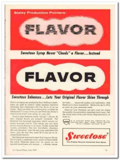 A E Staley Mfg Company 1959 Vintage Ad Ice Cream Syrup Flavor Sweetose