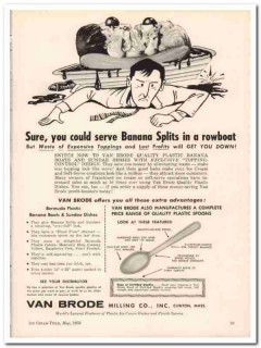 Van Brode Milling Company 1959 Vintage Ad Ice Cream Dishes Rowboat