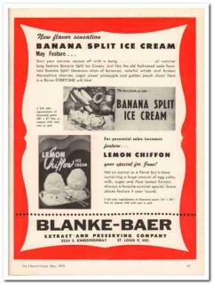 Blanke-Baer Extract Preserving Company 1959 Vintage Ad Ice Cream Lemon