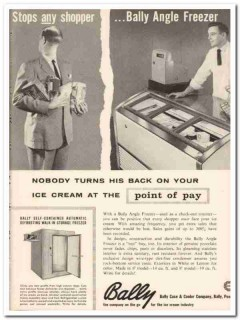 Bally Case Cooler Company 1959 Vintage Ad Ice Cream Angle Freezer Back