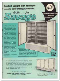 C V Hill Company 1959 Vintage Ad Ice Cream Cabinet Savage Upright
