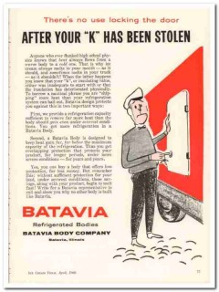 batavia body company 1960 after k stolen refrigerated truck vintage ad