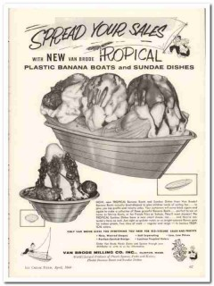 Van Brode Milling Company 1960 Vintage Ad Ice Cream Dishes Tropical