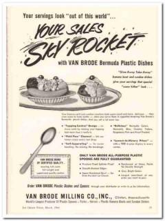 Van Brode Milling Company 1960 Vintage Ad Ice Cream Dishes Sky Rocket