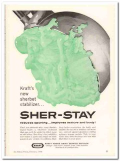 Kraft Foods Corp 1960 Vintage Ad Ice Cream Stabilizer Sher-Stay
