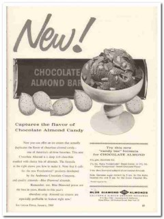 California Almond Growers Exchange 1960 Vintage Ad Ice Cream Chocolate