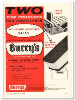 Burry Biscuit Corp 1960 Vintage Ad Ice Cream Sandwich Sales Profitable