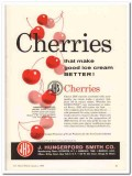 J Hungerford Smith Company 1960 Vintage Ad Ice Cream Cherries Better