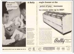 Bally Case Cooler Inc 1960 Vintage Ad Ice Cream Freezer Point Pay