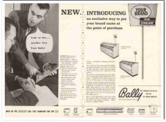 Bally Case Cooler Inc 1960 Vintage Ad Ice Cream Cabinet Introducing