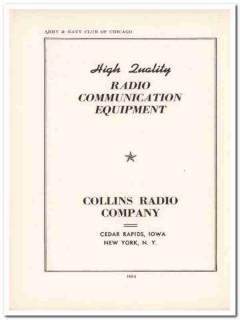 collins radio company 1943 quality equipment ww2 wartime vintage ad