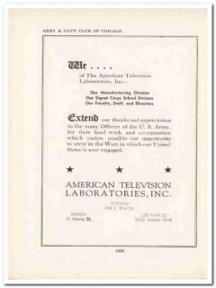 american television laboratories inc 1943 wwii ww2 wartime vintage ad