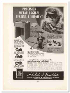 adolph i buehler inc 1943 metallurgical testing ww2 wartime vintage ad