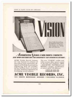 acme visible records inc 1943 vision card index ww2 wartime vintage ad