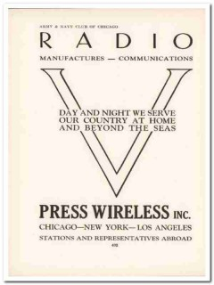 press wireless inc 1943 radio communications ww2 wartime vintage ad