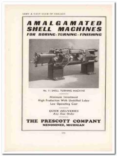 prescott company 1943 amalgamated shell machine ww2 wartime vintage ad