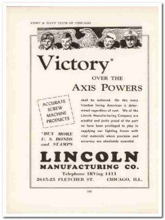 lincoln mfg company 1943 victory axis powers ww2 wartime vintage ad