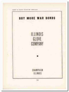 illinois glove company 1943 buy more war bonds ww2 wartime vintage ad