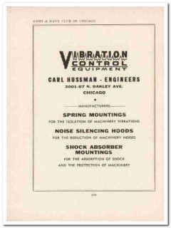 carl hussman engineers 1943 vibration control ww2 wartime vintage ad