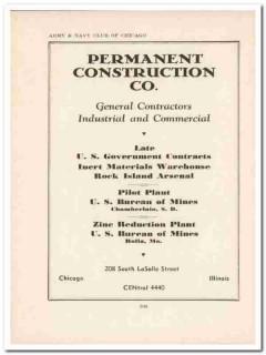 permanent construction company 1943 contractors ww2 wartime vintage ad