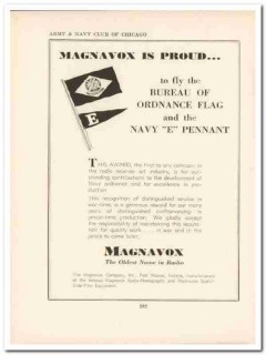 magnavox company 1943 proud fly flag pennant ww2 wartime vintage ad