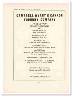 campbell wyant cannon foundry company 1943 ww2 wartime vintage ad