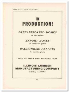 illinois lumber mfg company 1943 homes boxes ww2 wartime vintage ad