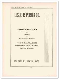 leslie r porter company 1943 contractors ww2 wartime vintage ad