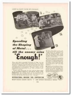 international machine tool corp 1943 metal ww2 wartime vintage ad