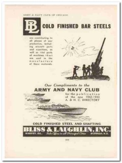 bliss laughlin inc 1943 cold finished bar steel ww2 wartime vintage ad