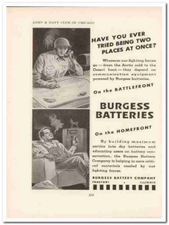 burgess battery company 1943 two places once ww2 wartime vintage ad