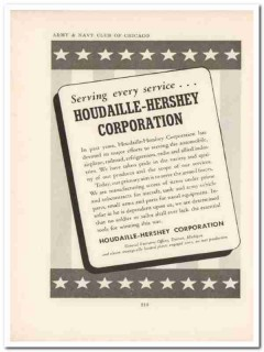 houdaille-hershey corp 1943 serving service ww2 wartime vintage ad