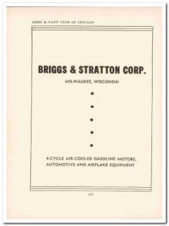 briggs stratton corp 1943 4-cycle gas motors ww2 wartime vintage ad