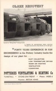 potteries ventilating heating company 1953 glaze ceramic vintage ad