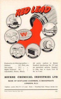 bourne chemical industries ltd 1953 red lead pottery vintage ad