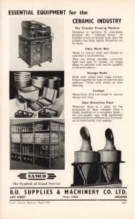 b u supplies machinery company 1953 samco ceramic pottery vintage ad