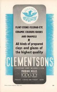 clementsons potters millers ltd 1953 clays glazes pottery vintage ad