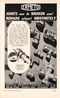 british ermeto corp ltd 1953 joints broken remade pottery vintage ad