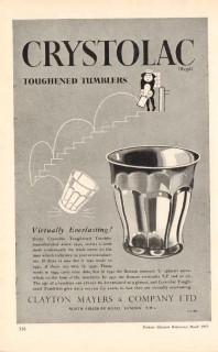 clayton mayers company ltd 1953 crystolac toughened tumbler vintage ad