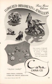 cara china company 1953 flowered ornaments jewelry pottery vintage ad